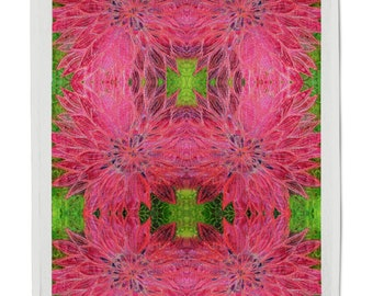 Cotton Tea Towel pink Dahlia print
