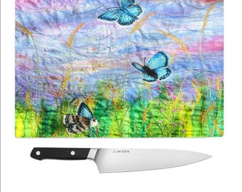 Tempered Glass Chopping Board Butterflies and wildflowers / cutting board / worktop saver