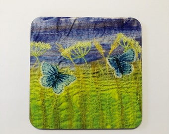 Butterfly coasters - butterfly gift - blue butterflies - gift for her - housewarming gift - mother in law gift - summer - wildflowers gift