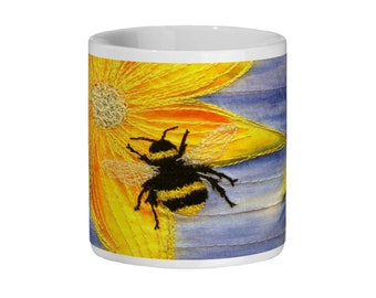 Bee and flower embroidery art design Ceramic Mug 11oz
