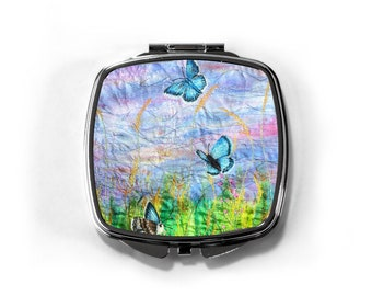 Compact hand mirror butterflies and wildflowers embroidery art print