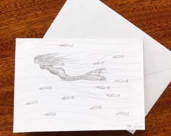Mermaid swimming with fish hand drawn card.  A6 blank inside.  Perfect for swimmers, nature lovers, adventurers, mum, sister, friends.