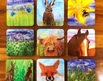 Wildlife and floral set of 5 drinks coasters.  Choose your own selection from the available designs in the photos.