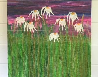 Echinacea wildflowers original embroidery art piece. 40x50cm. One of a kind wild swimming inspired embroidered wall hanging