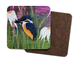4 Pack Hardboard Coaster kingfisher and echinacea embroidery print
