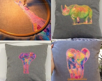 Embroidered animal cushion MADE TO ORDER