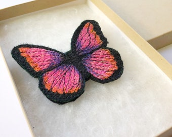 Pink butterfly Brooch gift for bird and nature lovers.  Jewellery for mothers day gifts.  Bold, colourful, beautiful and unique jewellery