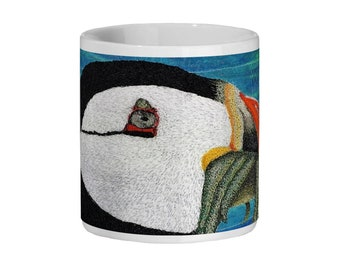 Puffin embroidery art design Ceramic Mug 11oz