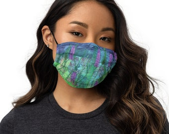 Lavender flower embroidery art print on premium face mask with adjustable strap MADE TO ORDER