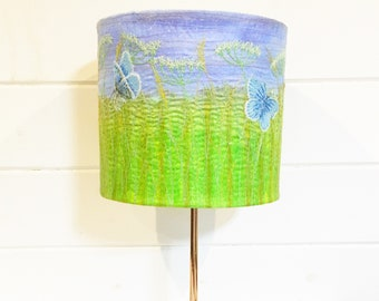 Wildflowers and common blue butterflies handmade embroidered lampshade.