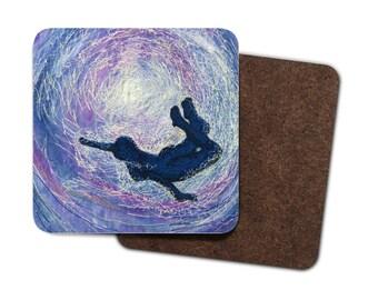 4 Pack Hardboard Coaster wild swimming Freedom under water embroidery art