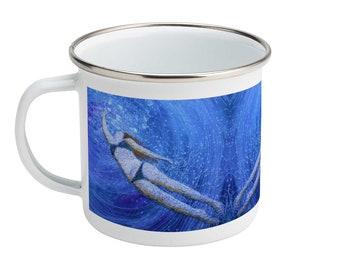 Enamel Mug 10oz swim wild and free.