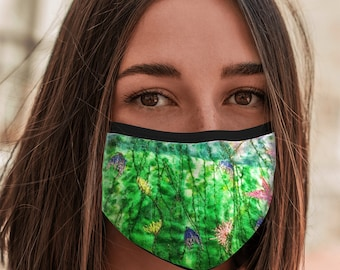 Face Mask wildflowers embroidery print with elastic ear loops