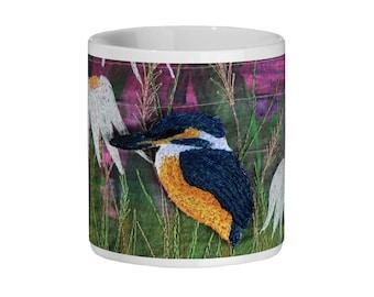 Ceramic Mug 11oz kingfisher and echinacea embroidery print