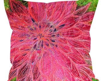 Sofa Cushions Dahlia flower embroidery art print MADE TO ORDER
