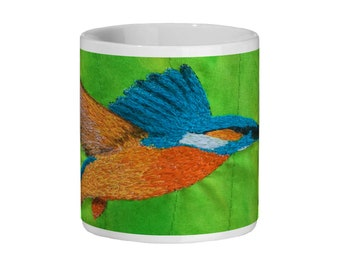 Kingfisher embroidery art design Ceramic Mug 11oz