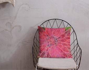 Pink Dahlia flower embroidery art print on premium cushion pillow