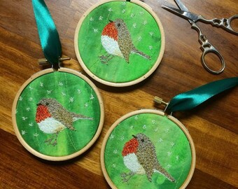 Christmas red Robin bird tree decoration