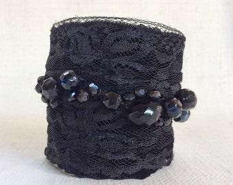 Black fabric cuff bracelet