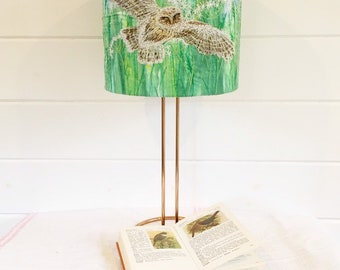 Little owl and wildflowers embroidered green lampshade.