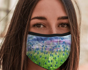 Face Mask Bluebells design with elastic ear loop