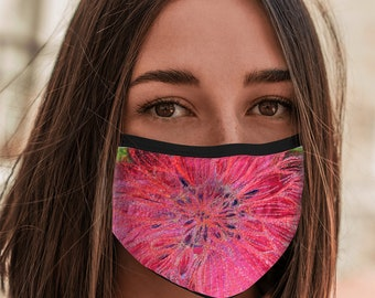 Face Mask pink Dahlia design with elastic loops