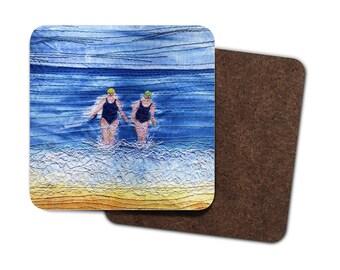 4 Pack Hardboard Coaster winter sea swimmers