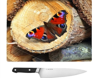 Peacock butterfly Tempered Glass Chopping Board.