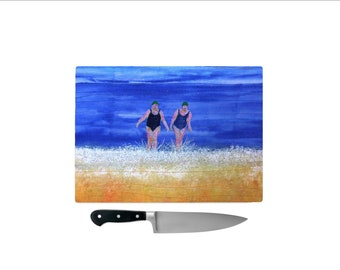 Tempered Glass Chopping Board winter sea swimmers