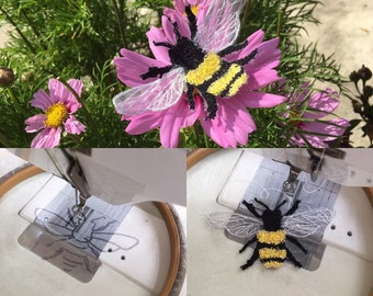 WORKSHOP LINGFIELD Tuesday 15th October : Giant  Bee free motion machine embroidery day.