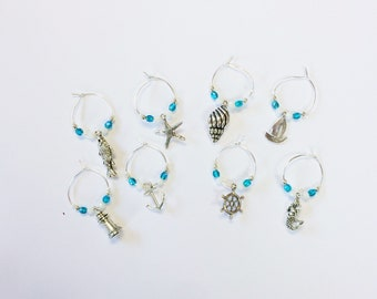 Teal nautical wine glass charms (set of 8)