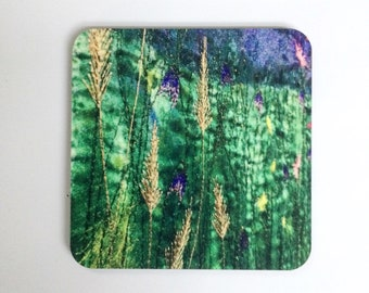 Wildflower embroidery design coasters