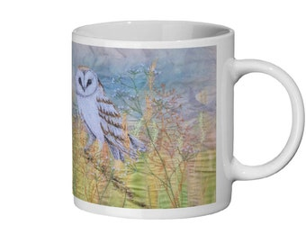 Barn Owl embroidery art Ceramic Mug 11oz
