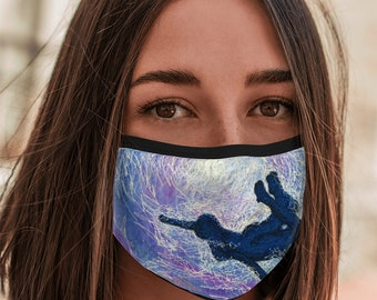 Face Mask Freedom under water embroidery art print with elastic ear loops