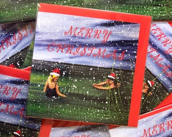 Set of 3 Merry Christmas swimming friends greetings card