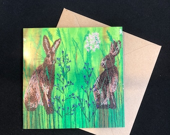 Hare greetings card (blank inside) Perfect for nature, wildlife, crafters, mothers and fathers day plus embroidery art lovers