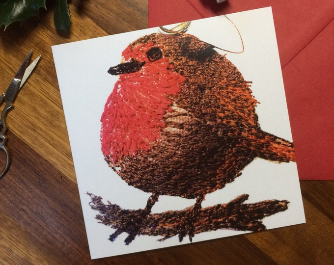 Featured listing image: Christmas robin red breast greetings card.  Blank inside