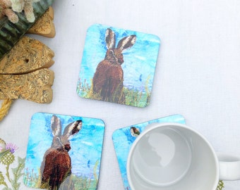 Hare embroidery art print on coasters / drinks mat