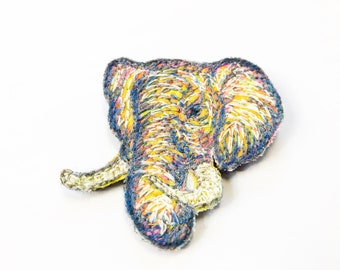 Colourful embroidered elephant Brooch