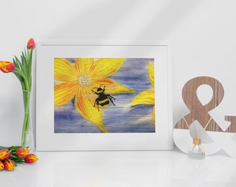 Art print. Bublble bee of yellow flower embroidery art print.