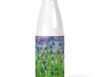 Bluebell wildflowers embroidery art print Premium Stainless Steel Water Bottle Juliet Turnbull textile artist
