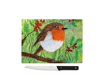 Christmas Robin toughened glass chopping boards