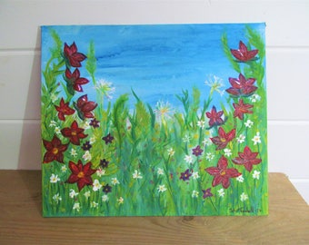 Wildflower painting (30 x 25.5cm canvas)