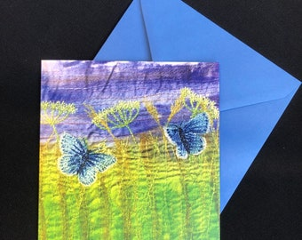 Wildflowers and butterflies card