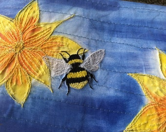 Busy Bee lampshade MADE TO ORDER - yellow lampshade - embroidered bee -  bee lover -  nature lover gift ~ bee gift