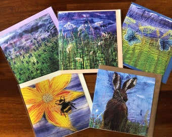 Set of 5 blank greetings cards.  Wildflowers and butterflies collection