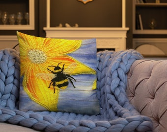 Busy Bee embroidery art print on premium cushion pillow
