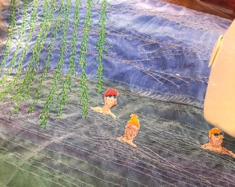 Under the Willow tree' embroidery original art wall hanging.  Perfect gift for outdoor loving open water swimmers.