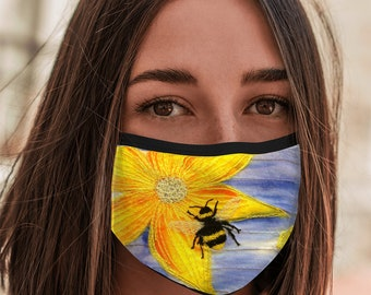 Face Mask Bee embroidery print with elastic ear loop