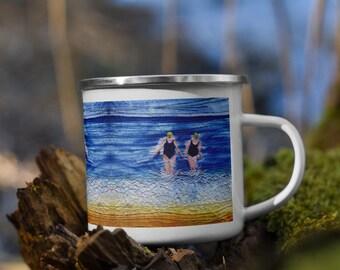 Winter swimming friends embroidery art printed on enamel Mug